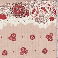 *3 YD PC--Apricot/Red Floral Cotton Poplin