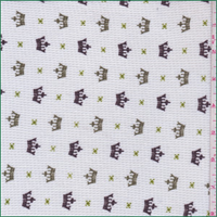 *2 1/8 YD PC--White/Olive Crown Print Thermal Knit