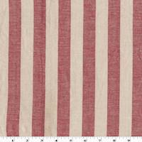 *1 1/4 YD PC--Red/Pale Beige Stripe Cotton/Linen
