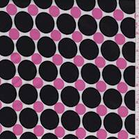 *2 1/2 YD PC--White/Black/Pink Polka Dot Jersey Knit