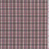 *3 YD PC--White/Mocha Metallic Plaid Shirting