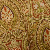 *6 YD PC--Designer Cotton Orange/Green Paisley Print Home Decorating Fabric