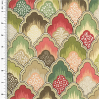 *2 YD PC--Designer Cotton Pink/Green Scallop Print Home Decorating Fabric