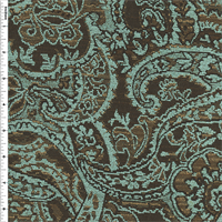 *2 1/4 YD PC--Teal/Brown Paisley Jacquard Home Decorating Fabric