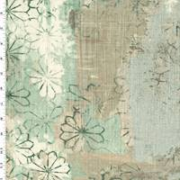 *2 YD PC--Green/Silver Sparkle Texture Floral Print Decorating Fabric
