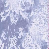 *2 5/8 YD PC--Blue Stylized Floral Silk Chiffon