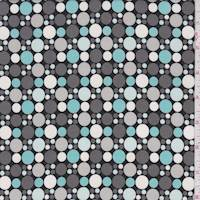 *2 7/8 YD PC--Charcoal/Turquoise Dot Jersey Knit
