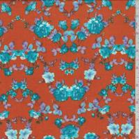 *1 7/8 YD PC--Pumpkin/Teal Floral Challis