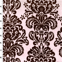 *2 YD PC--Pink/Brown Damask Print Minky
