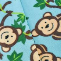 *2 1/2 YD PC--Blue/Brown Cute Monkey Printed Fleece