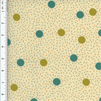 *5 YD PC--Designer Cotton Teal/Green Birthday Dot Print Grey Home Decorating Fabric