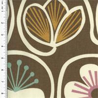 *1 1/8 YD PC--Designer Cotton Brown Multi Floral Print  Decorating Fabric