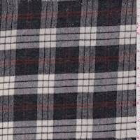 *1 YD PC--Charcoal/Ivory Plaid Wool Flannel