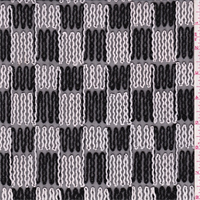 *1 YD PC--Black/White Embroidered Check Stretch Mesh
