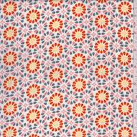 *2 YD PC--White/Coral/Orange Floral Medallion Crepe