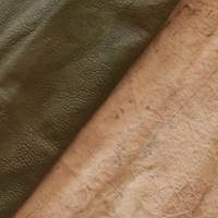 Deep Moss Green Textured Leather Hide