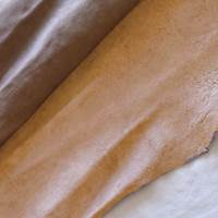 Cream Mocha Brown Textured Leather Hide