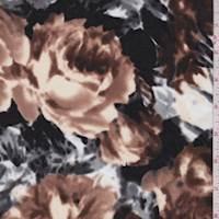 Mocha/Grey Bold Floral Ponte Double Knit