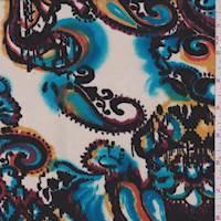 Bone/Aqua Ikat Paisley Ponte Double Knit