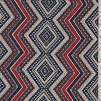 Ivory/Fire/Navy Zig Zag Crepe Knit
