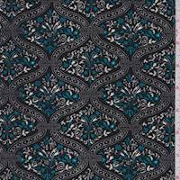 Black/Teal Floral Lattice Crepe Knit