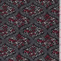 Black/Red Floral Lattice Crepe Knit