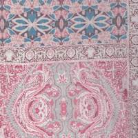 *2 5/8 YD PC--Dusty Rose/Blue Deco Tile Rayon Challis
