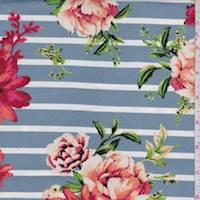 Dusty Blue/Salmon Stripe Floral Double Brushed Jersey Knit