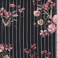 Black/Blush Pinstripe Floral Brushed Jersey Knit