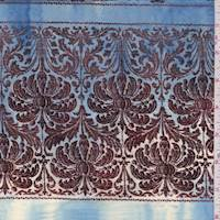 *1 YD PC--Blue/Mocha Baroque Stripe Cotton Poplin