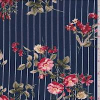 Deep Blue/Red Pinstripe Floral Brushed Jersey Knit