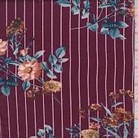 Burgundy/Clay Pinstripe Floral Brushed Jersey Knit