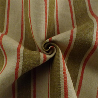 *4 3/4 YD PC--Brown/Beige/Red Linen Stripe Home Decorating Fabric