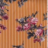 Squash/Cinder Pinstripe Floral Brushed Jersey Knit