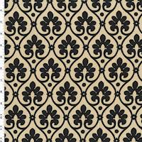 *1 YD PC--Black/Beige Ogee Print Woven Home Decorating Fabric