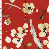 *1 1/4 YD PC--Red/White P Kaufmann Floral Print Home Decorating Fabric
