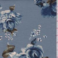Dusty Blue Rose Pique Knit