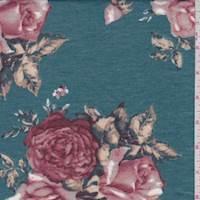 Spruce Blue Rose Jersey Knit