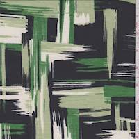 *2 1/2 YD PC--Black/Sage Brushstroke Slubbed Jersey Knit