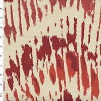 *9 1/4 YD PC--Sunset Orange/Red Broken Abstract Jacquard Decorating Fabric