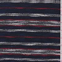 *2 YD PC--Navy/White/Red Stripe Cotton Boucle