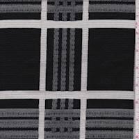 *3 YD PC--Black/White Jacquard Plaid Cotton