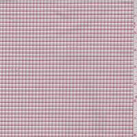 *1 1/4 YD PC--White/Grey/Red Mini Check Cotton Oxford Shirting