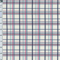 *4 1/4 YD PC--White/Pink/Navy Chelsea Plaid Cotton Blend