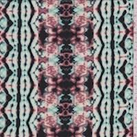 *3 3/8 YD PC--Ivory/Aquamarine Kaleidescope Jersey Knit