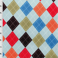 *1 YD PC--Blue/Multi Argyle Diamond Minky