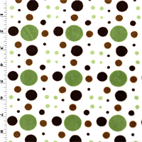 *1 YD PC--White/Green/Brown Dot Minky