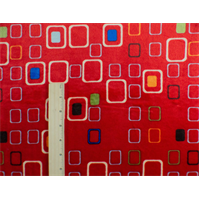*3/4 YD PC--Red/Multi Square Minky