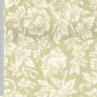 *2 YD PC--Creme/Beige Floral Printed Plain Weave Home Decorating Fabric