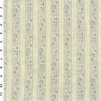 *1 YD PC--Purple Floral Stripe Print Vintage Linen  Decorating Fabric